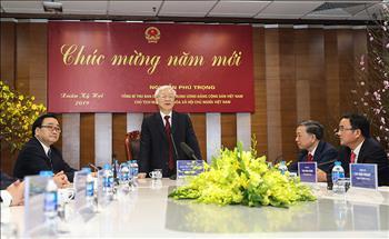 Tổng Bí thư, Chủ tịch nước Nguyễn Phú Trọng thăm Trung tâm Điều độ Hệ thống điện Quốc gia và chúc Tết cán bộ nhân viên Tập đoàn Điện lực Việt Nam