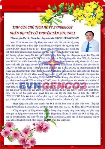 Thư của Chủ tịch HĐTV EVNGENCO 2 nhân dịp Tết cổ truyền Tân Sửu 2021